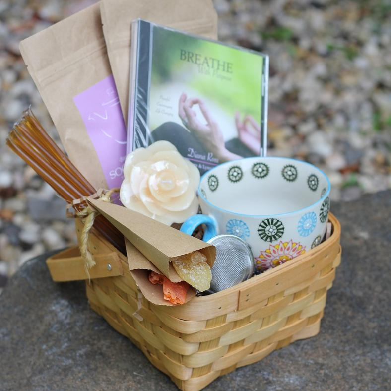 Organic Get Well Tea Basket For Breast Cancer